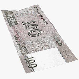 3D North Korea 100 Won Banknote model