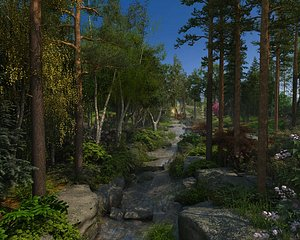 3D Park Wetland Park Ecological Park Modern Park City Park Green Forest Forest Nature Camping Site