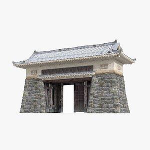 3D Gate of ancient Asian villages model