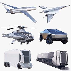 3D concept plane metro tram model