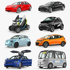 3D Rigged Electric Cars Collection 2