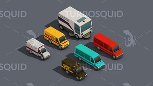 3D Low Poly Car Pack 01 Isometric Low-poly 3D model