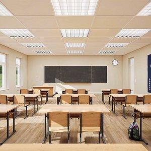 3D model class classroom room