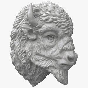 3D model buffalo head sculpture bison