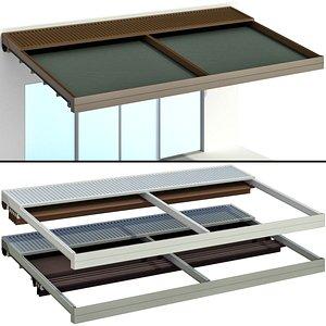 3D model Metal pergola gazebo canopy with awning