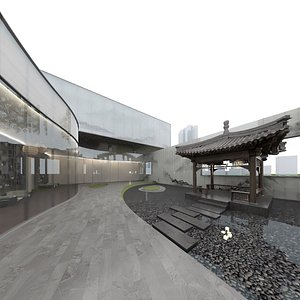 asian art exhibition center 3D