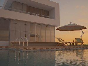 3D model Seascape villa family swimming pool swimming pool villa sea view room travel C4D Vary dusk