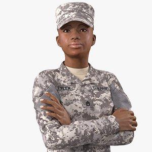 black female soldier military model