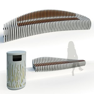 Stylish parametric bench 2 options 3D model