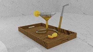 Orange juice in a very unique looking design glass 3D model