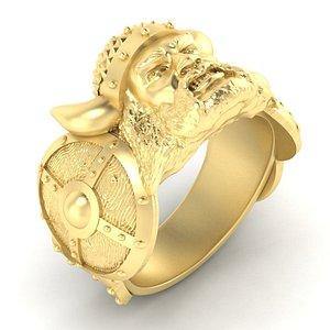 3D mens ring viking model