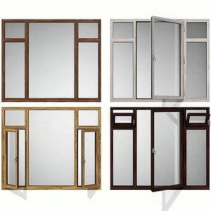 Swing stained glass wooden windows model