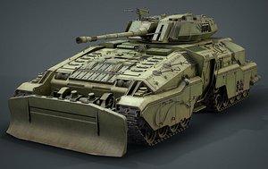 Sci Fi Tank low poly 3D model