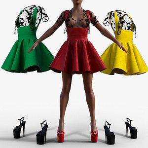 Gothic Women Vintage Gothic dressdress 3D model