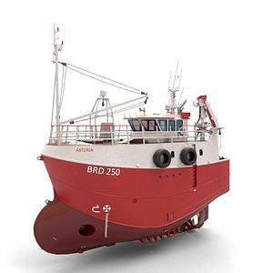 3D Fishing Trawler RED