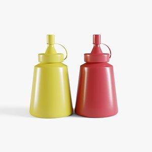 3D Small Ketchup And Mustard Bottles