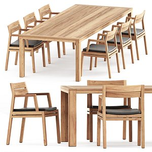 Costes chair and Costes rectangular dining table 3D model