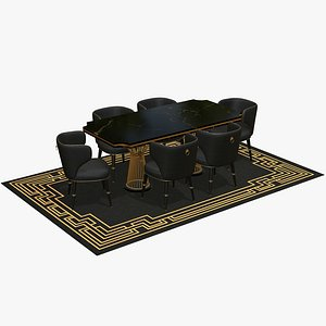 Luxury Dining Table Set 3D