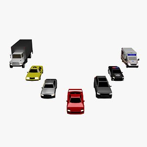 3D Rigged Low Poly Car Collection