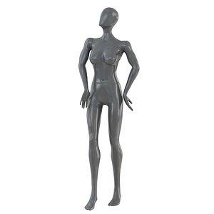 Female Gray Faceless Mannequin 82 3D model