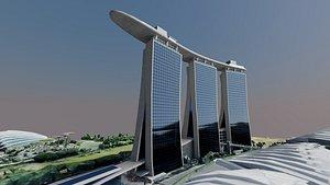 3D Singapore Marina bay Sands building model