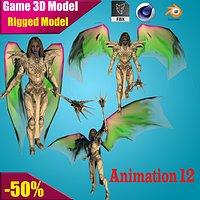 Evora Angel Female Character 3D model