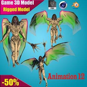 3D female character angel model