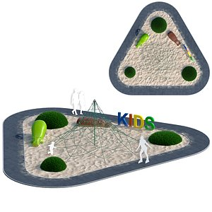 Children playground with rope web 3D model