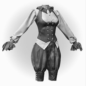 realistic female steampunk costume 3D model