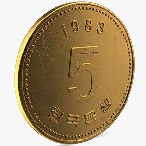 3D South Korea 5 Won 1983 Coin