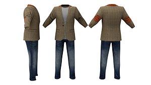 Men's Tweed Jacket Outfit 3D model