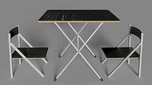 Folding table and chair 3D model