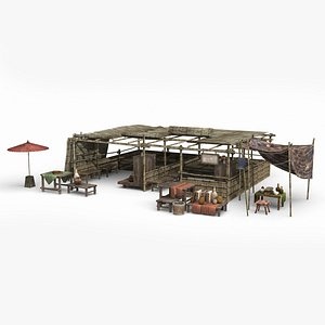 Asian ancient architecture bamboo shed shop 3D