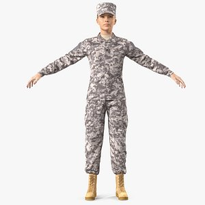 female soldier military acu model