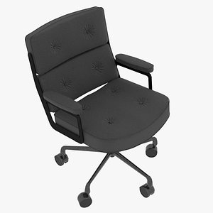 Eames Executive Chair Black Frame Charcoal Fabric 3D