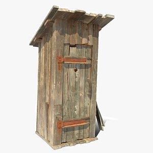 Wooden toilet 3D