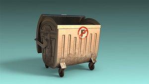 low-poly mobile garbage bin 3D model