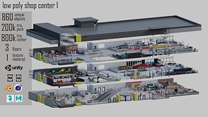 low poly shop center 1 3D