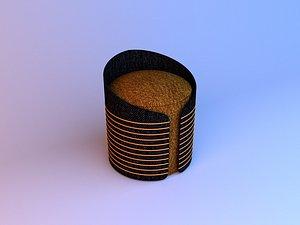 Textiles Pouf modern-Sofa 3D model 3D