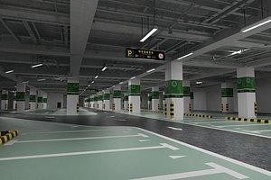 Parking lot underground parking lot shed parking space basement 3D model