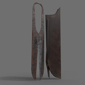 3D Rusty Forged Scissors