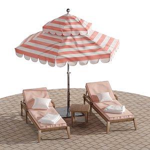 3D Beach lounge outdoor set 9