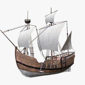 3D model caravel ship