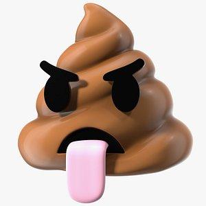 Tongue Out Face Poop Emoji Smile 3D model