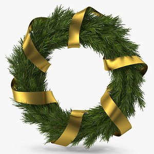 Christmas Wreath with Gold Ribbon 3D model