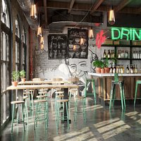 Realistic Bar, Coffeeshop Scene
