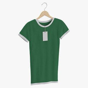 Female Crew Neck Hanging With Tag White and Green 02 model