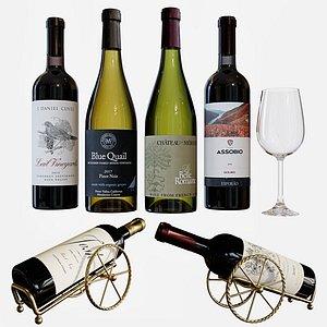 3D model set wine bottles