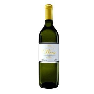 wine bottle white 3D