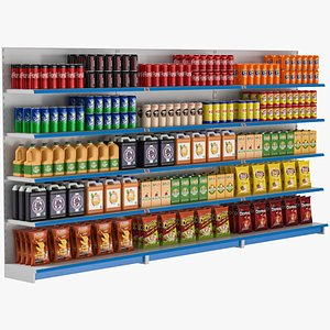3D supermarket shelves grocery